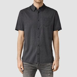 AllSaints Men's Black Chapter Short Sleeve Shirt L